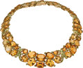 Estate Jewelry:Necklaces, Citrine, Peridot, Gold Necklace, Sophia D.. ...