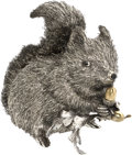 Estate Jewelry:Objects d'Art, Sterling Silver Squirrel Sculpture, Buccellati. ...