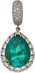 Estate Jewelry:Pendants and Lockets, Emerald, Diamond, Platinum, Gold Enhancer. ...