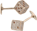 Estate Jewelry:Cufflinks, Colored Diamond, Diamond, Pink Gold Cuff Links, Jacob & Co.. ...