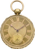Timepieces:Pocket (pre 1900) , Joseph Johnson Gold Rack Lever Fusee, circa 1840. ...
