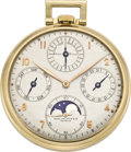 Timepieces:Pocket (post 1900), Patek Philippe Perpetual Calendar Pocket Watch with Moon Phase,circa 1942. ...