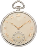 Timepieces:Pocket (post 1900), Swiss Men's Platinum Pocket Watch, circa 1930. ...