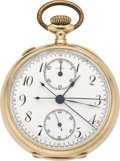 Timepieces:Pocket (pre 1900), Agassiz Gold Split Second Chronograph with Register, circa 1895. ...