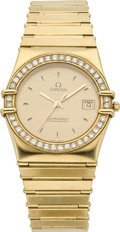 Timepieces:Wristwatch, Omega Gold Constellation with Diamonds, circa 1970. ...