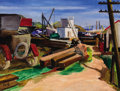 Fine Art - Painting, European:Modern  (1900 1949)  , HERMANN VOLZ (German, 1814-1894). Sausalito Waterfront, circa 1935. Oil on panel. Signed lower left: Volz. 21-1/4 x ...
