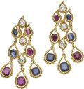 Estate Jewelry:Earrings, Diamond, Ruby, Sapphire, Gold Earrings. ... (Total: 2 Items)