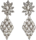Estate Jewelry:Earrings, Diamond, White Gold Detachable Earrings. ... (Total: 2 Items)