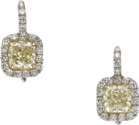 Colored Diamond, Diamond, Platinum, Gold Earrings