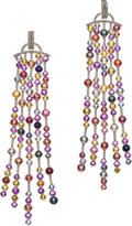 Estate Jewelry:Earrings, Multi-Color Sapphire, Diamond, White Gold Earrings. ... (Total: 4 Items)
