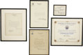 Movie/TV Memorabilia:Memorabilia, Mark Hellinger's Official Citations.... (Total: 5 Items)