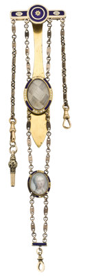 Memorial Portrait Watch Chatelaine and Key, circa 1820