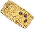 Estate Jewelry:Bracelets, Ruby, Enamel, Gold Bracelet. ...
