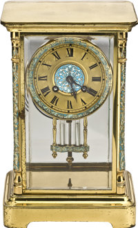 Japy Freres French Mercury Pendulum Clock with Enamel, circa 1890
