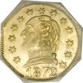 California Fractional Gold, 1872 25C Washington Octagonal 25 Cents, BG-722, Low R.4, MS65NGC....
