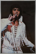 Music Memorabilia:Posters, Elvis Sold At Concert Tour Poster In Silver Frame (1974)....