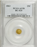 California Fractional Gold: , 1863 25C Liberty Round 25 Cents, BG-820, R.5, AU58 PCGS. PCGSPopulation (6/17). NGC Census: (1/2). (#10681)...