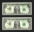 Error Notes:Ink Smears, Fr. 1924-C $1 1999 Federal Reserve Notes. Two Consecutive Examples.Choice Crisp Uncirculated.. ... (Total: 2 notes)