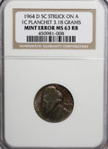 Errors, 1964-D 5C Jefferson Nickel--Struck on a Cent Planchet--MS63 Red andBrown NGC. 3.18 gm....