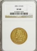 Liberty Eagles: , 1851-O $10 XF40 NGC. NGC Census: (61/696). PCGS Population(106/258). Mintage: 263,000. Numismedia Wsl. Price for NGC/PCGS ...