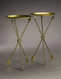 Furniture : Continental, ITALIAN MODERN. A Pair of Brass Tray Tables with Arrow Motif, inthe style of Gio Ponti, circa 1950. 30-1/2 x 15-7/8 x 15-7/...(Total: 4 Items)