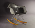 Furniture : American, CHARLES AND RAY EAMES. A RAR Rocker with rope edge, manufactured byHerman Miller/Zenith Plastics USA, circa 1950. Paper lab...