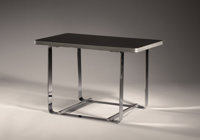 GILBERT ROHDE (American, 1894-1944) A Chrome Plated Steel and Ebony Laminated Wood Side Table, model no. 100-A, ma