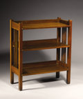 Furniture : American, STICKLEY BROTHERS. An Oak Magazine Stand, no. 4702. Branded on the underside: Stickley Bros Co / Grand Rapids. 31 x 26 x...