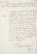 "Autographs:Non-American, Juan Cortez Document Signed as captain of the royal presidio atBahia del Espiritu Santo. One page in Spanish, 8.5"" x 12.25""..."