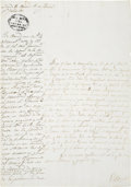 """Autographs:Non-American, Juan Sanchez Document Signed. One page, two sided, 8.5"""" x 12"""",Leona Vicario, June 16, 1836. Illegible ink stamp at upper le..."""