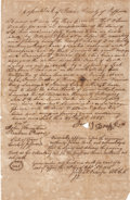 "Autographs:Celebrities, [Republic of Texas] Joseph P. Pulsifer Land Deed Signed with header""Republic of Texas County of Jefferson"". One pag..."