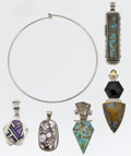 Estate Jewelry:Lots, Multi-Stone, Silver Pendant Lot with Silver Collar . ... (Total: 6 Items)