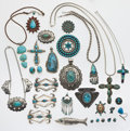 Estate Jewelry:Lots, Southwest Turquoise, Multi-Stone, Silver Jewelry Lot. ... (Total: 28 Items)