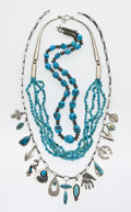 Estate Jewelry:Lots, Southwest Turquoise, Shell, Multi-Stone, Silver Necklace Lot. ...(Total: 6 Items)