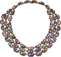 Estate Jewelry:Necklaces, Multi-Colored Sapphire, Tsavorite, Diamond, Gold Necklace. ...