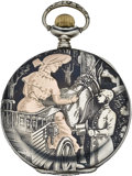 "Timepieces:Pocket (post 1900), Swiss Niello ""Lady and Gentleman"" Scene Pocket Watch, circa 1905. ..."