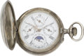 Timepieces:Pocket (post 1900), Swiss Moon Phase Calendar Silver Hunters Case, circa 1905. ...