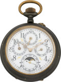 Timepieces:Pocket (pre 1900) , Swiss Moon Phase Calendar Pocket Watch, circa 1880. ...