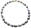 Estate Jewelry:Necklaces, Baroque South Sea Cultured Pearl, Diamond, Gold Necklace. ...