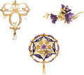 Estate Jewelry:Lots, Lot of Multi-Stone, Diamond, Gold Brooches. ...