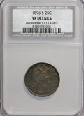 Barber Quarters: , 1896-S 25C --Improperly Cleaned--NCS. VF Details. NGC Census:(2/56). PCGS Population (9/73). Mintage: 188,039. Numismedia W...