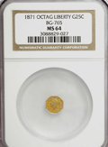 California Fractional Gold: , 1871 25C Liberty Octagonal 25 Cents, BG-765, R.3, MS64 NGC. NGCCensus: (2/2). PCGS Population (26/4). (#10592)...
