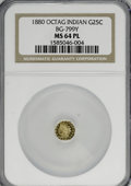 California Fractional Gold: , 1880 25C Indian Octagonal 25 Cents, BG-799Y, High R.4, MS64Prooflike NGC. NGC Census: (1/1). (#71...