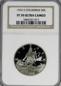 Modern Issues: , 1992-S 50C Columbus Half Dollar PR70 Ultra Cameo NGC. NGC Census:(0/0). PCGS Population (24/0). Mintage: 390,255. Numismed...