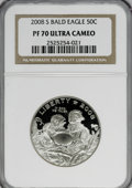 Modern Issues, 2008-S 50C Bald Eagle PR70 Ultra Cameo NGC. PCGS Population(245/0). Numismedia Wsl. Price for NGC/PCGS...