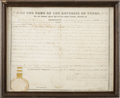 "Autographs:Statesmen, Sam Houston Partially Printed Document Signed as president of theRepublic of Texas. One page, 16.5"" x 13"" (sight size),..."