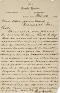 """Autographs:Statesmen, Temple Houston Autograph Letter Signed. One page on """"TempleHouston/ County Attorney"""" letterhead, 6"""" x 9.5"""", February 1..."""