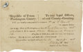 "Miscellaneous:Ephemera, Republic of Texas Subpoena. One page partly printed, 7.75"" x 4.75"",November 21, 1838, Washington [-on-the-Brazos], Washingt..."