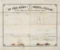 "Autographs:Statesmen, [Texas C.S.A.] Edward Clark Land Grant Signed as Civil War governor of Texas. One page, 14.75"" x 12.5"", September 20, 1861, ..."