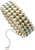 Estate Jewelry:Bracelets, Cultured Pearl, Chrysoprase, Gold Bracelet. ...